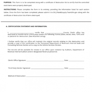 printable certificate of data destruction template pdf