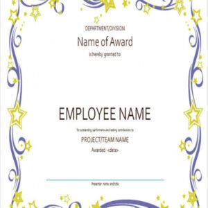 printable employee recognition certificate template ppt