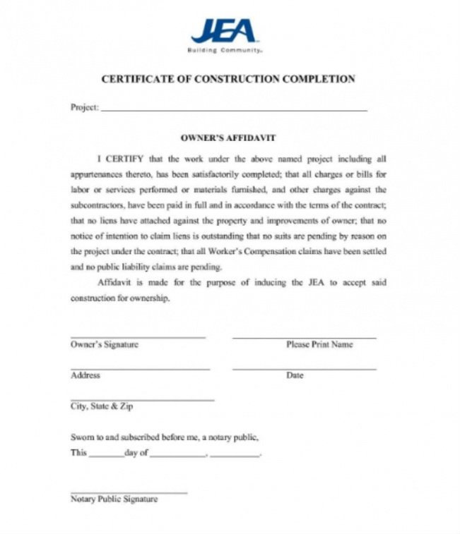 printable roofing certificate of completion template example