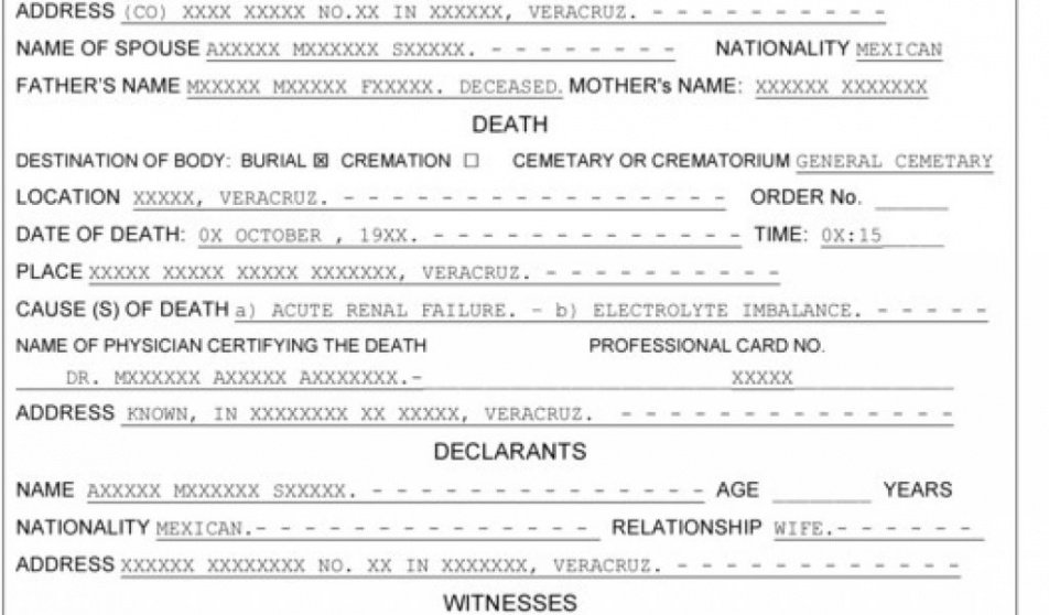 sample death certificate translation template english to spanish