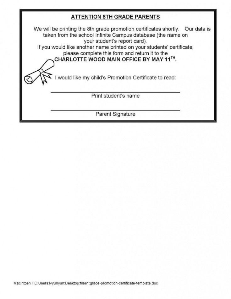 free school promotion certificate template excel