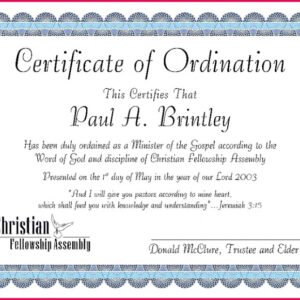 how to make a pastor ordination certificate template sample
