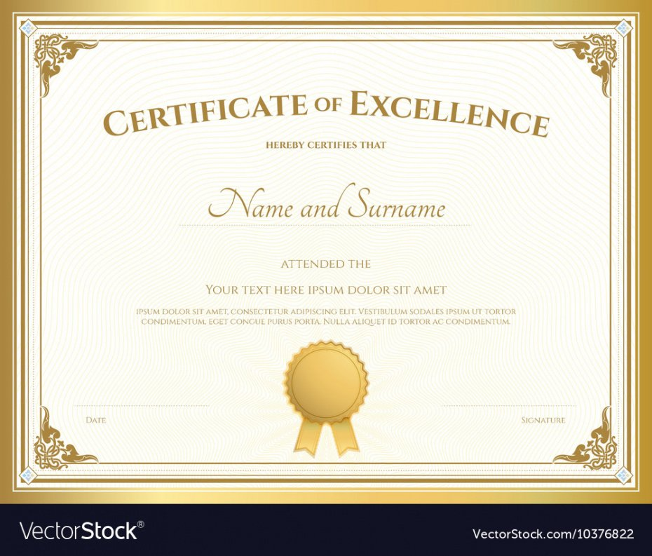 printable certificate of excellence template example