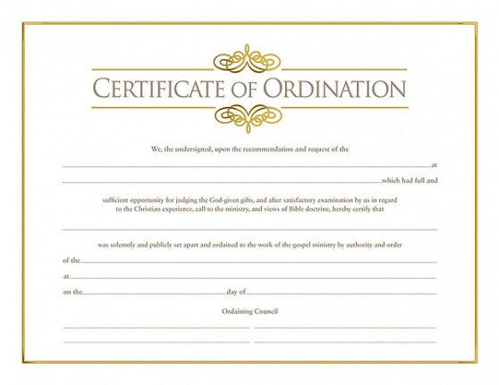 printable pastor ordination certificate template excel