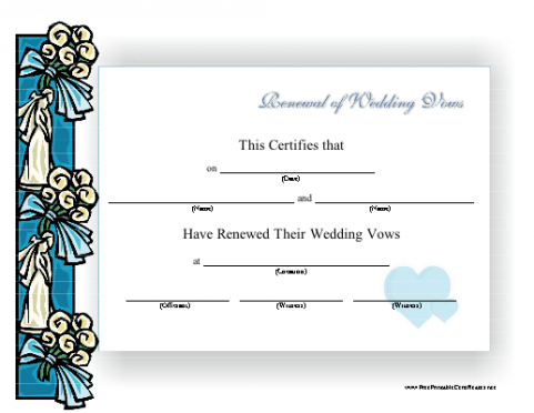 printable renewal of marriage vows certificate template ppt