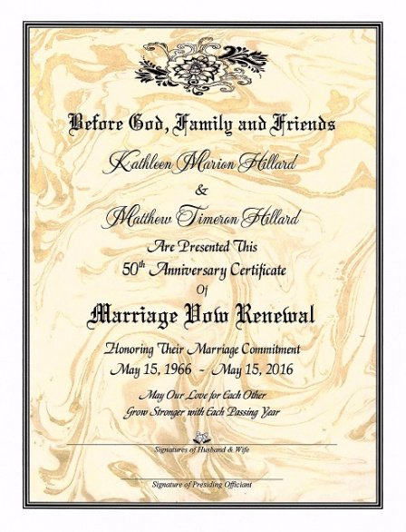 printable renewal of marriage vows certificate template