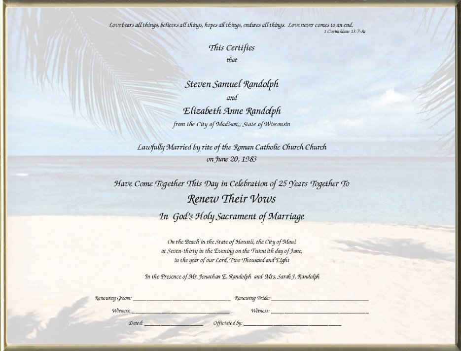 renewal of marriage vows certificate template example