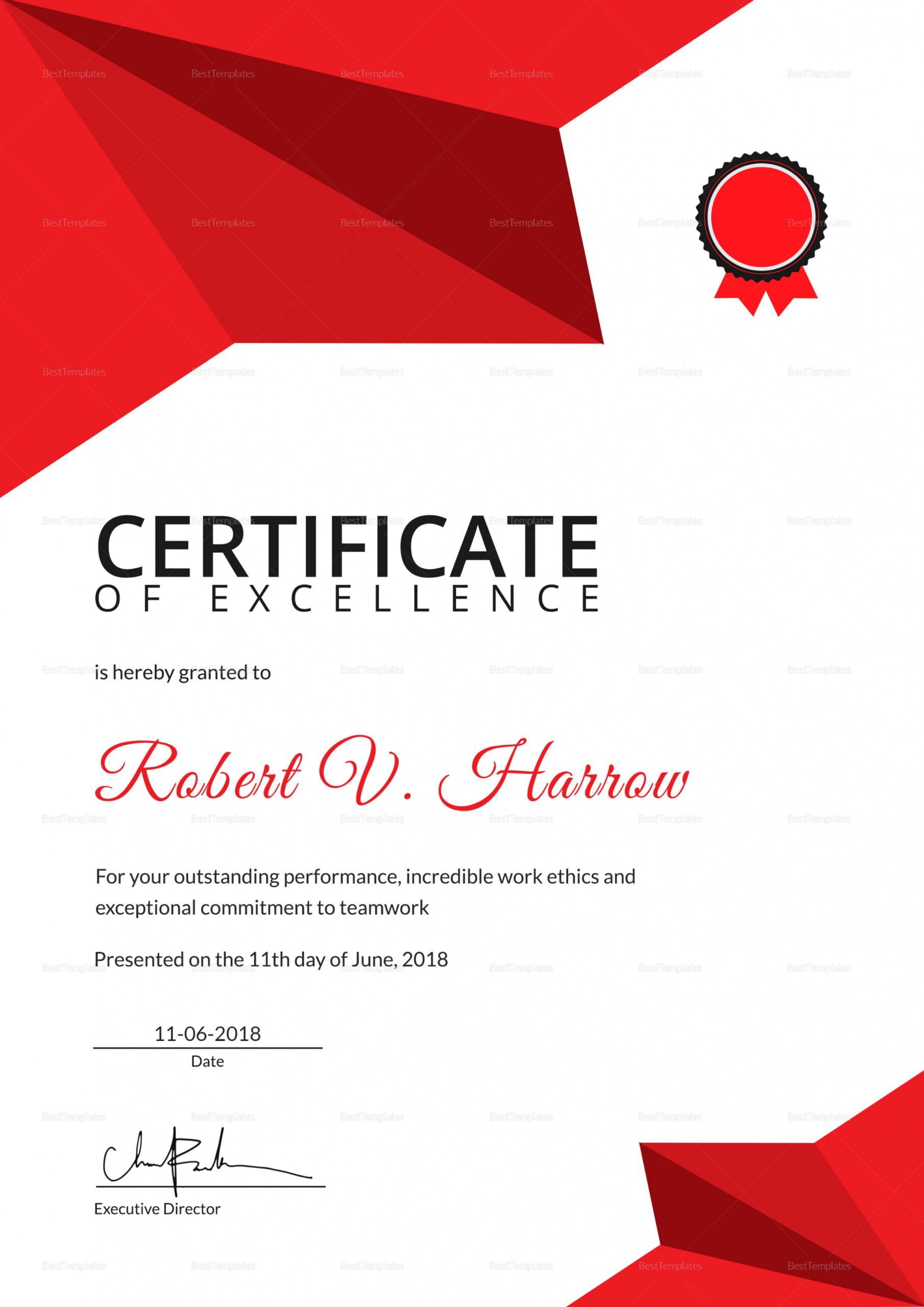 sample certificate of excellence template ppt