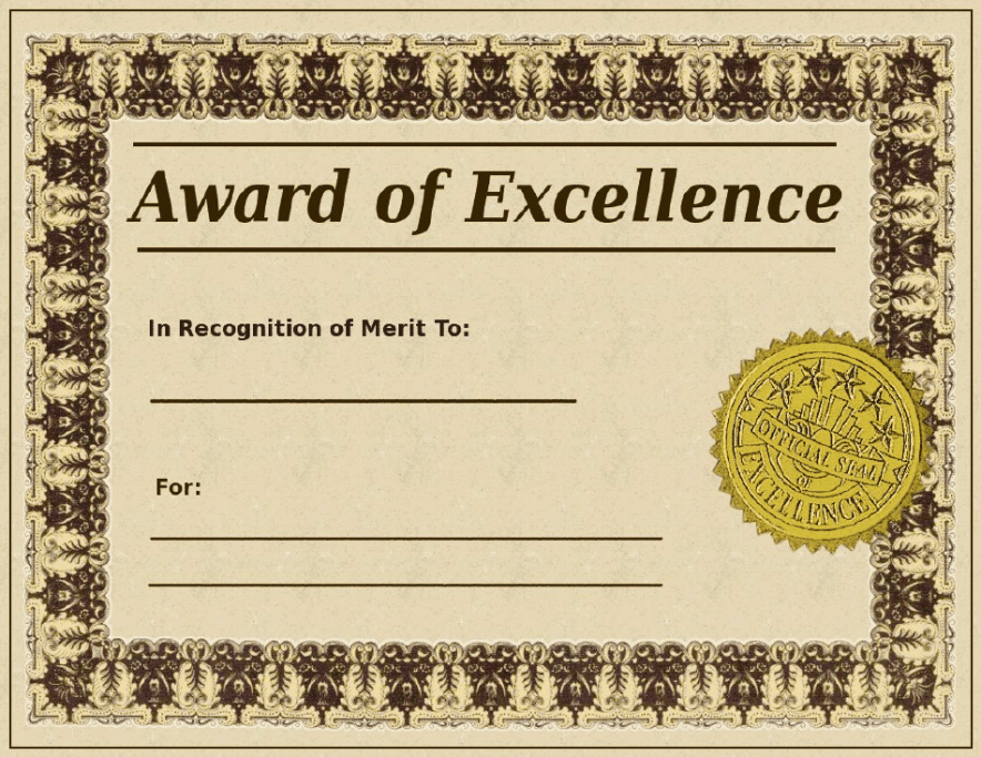 what is a certificate of excellence template ppt