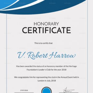 what is a certificate of honorary membership template