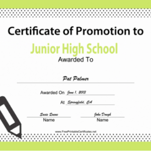 what is a school promotion certificate template example