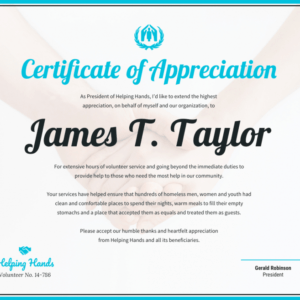 what is a volunteer certificate of appreciation template excel