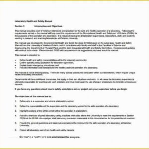 Editable Health And Safety Handbook Template Doc Example