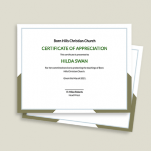 free church certificate of appreciation template example