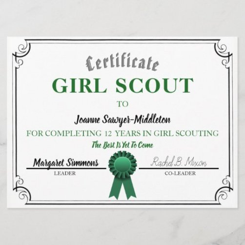 free girl scout certificate of appreciation template sample