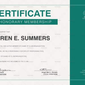 free honorary member certificate template excel