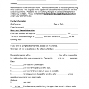 Free Parent Handbook For Child Care Center Template Word