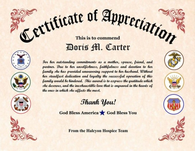 how to make a veterans appreciation certificate template