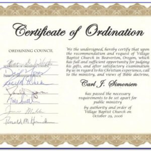 minister license certificate template sample