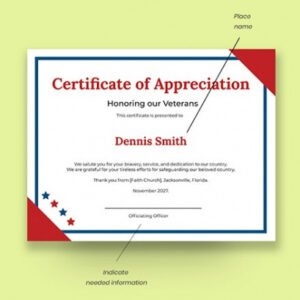 printable veterans appreciation certificate template sample