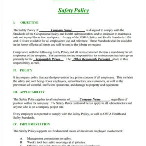Professional Small Business Safety Handbook Template  Sample