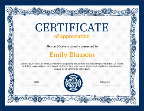 sample religious certificate of appreciation template example