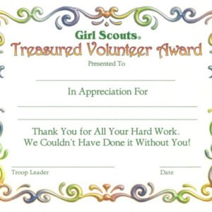 what is a girl scout certificate of appreciation template excel