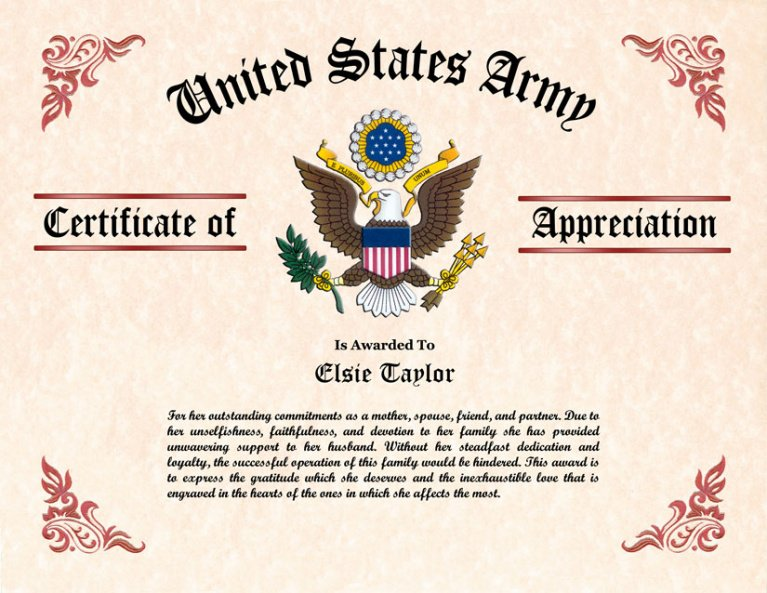 what is a veterans appreciation certificate template